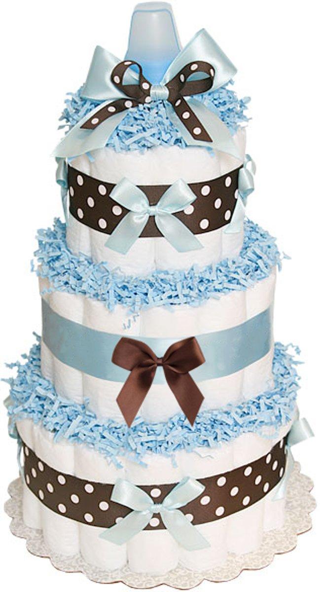 Pampertaart / luiertaart jongens 3-laags blauw / chocolade maat 1 (2-5 kg) Kraamcadeau, Babyshower, Geboortecadeau