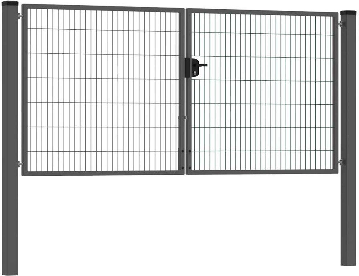 Dubbele tuinpoort 300 x 140 cm (bxh) Antraciet RAL7016 premium kopen