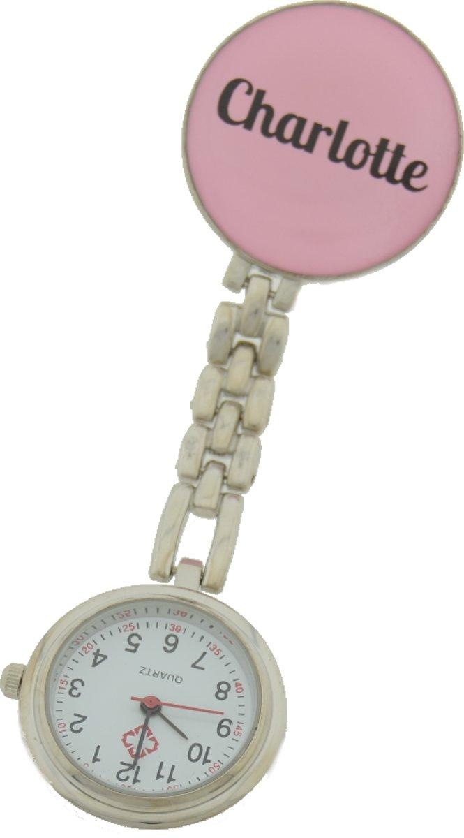 Treasure Trove® Gepersonaliseerd Verpleegster Horloge – Zusterhorloge met Naam – Dames – Lichtroze – 25mm kopen