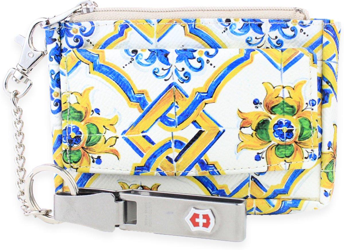 Beige Printed Leren Sleuteletui - Compact en Gemakkelijk - Sleutelhoesje met Zwitserse Victorinox Clip - Sleutelmapje in 100% Leder - Merk: Safekeepers - art: 2102 kopen