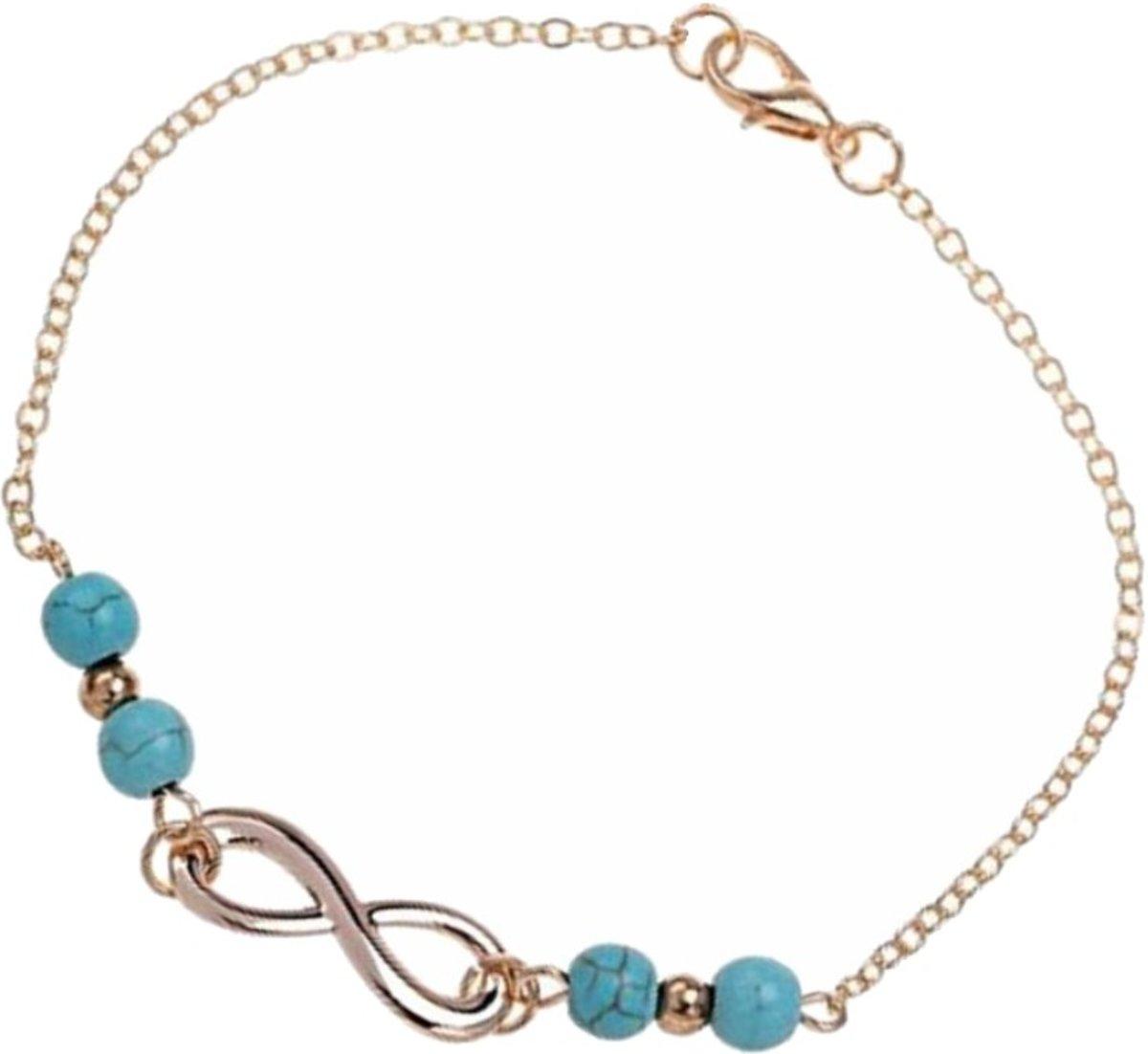 Fako Bijoux® - Enkelbandje - Infinity Turquoise Duo - Goudkleurig - 25cm kopen