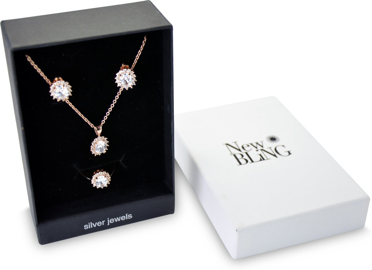 New Bling Gift Set 9NB SET012 60 Sieraden Geschenkset - Zilveren Oorbellen 6x8 mm Collier 40+5 cm Ring maat 60 - Solitair Zirkonia steen - Rosékleurig kopen