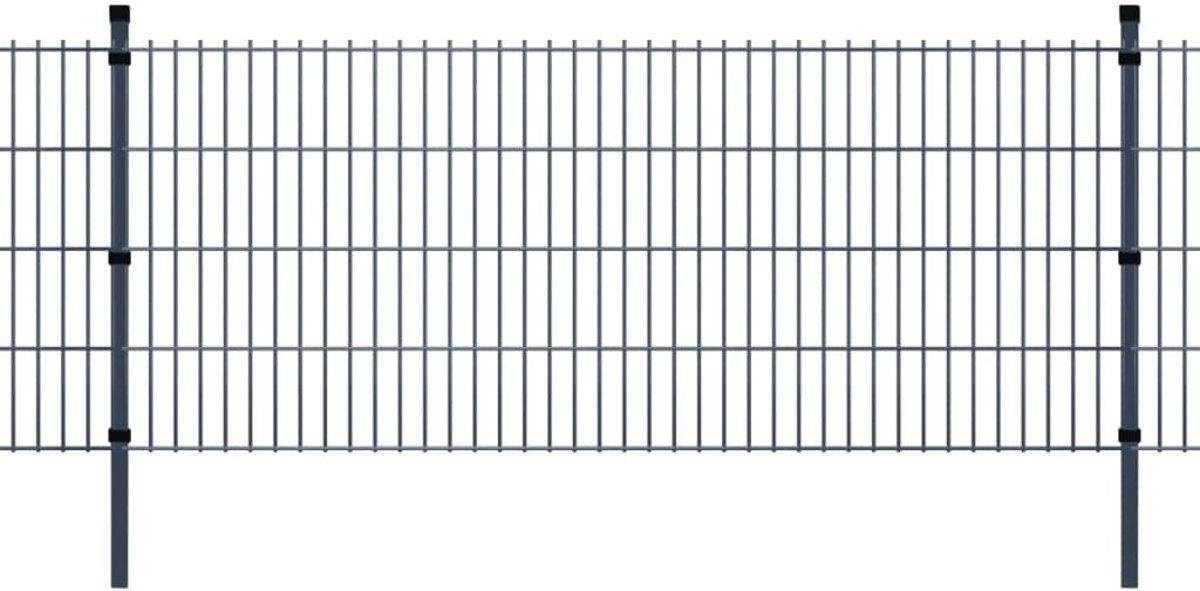 vidaXL Dubbelstaafmat 2008 x 2030 mm 48 m grijs 24 stuks kopen