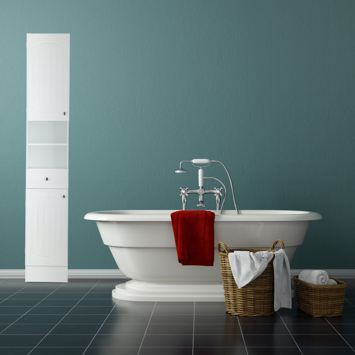 bol.com   relaxdays badkamerkast hoog wit - kast hout - opbergkast ...