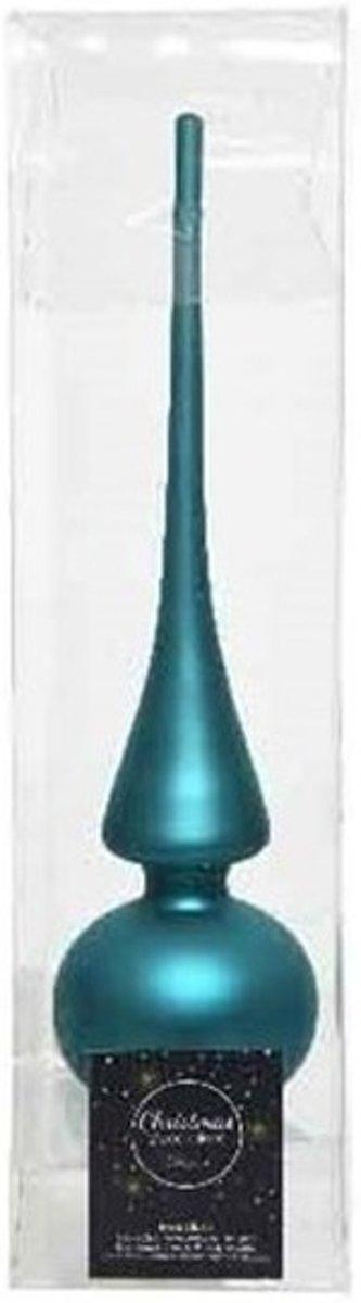 Turquoise blauw glazen piek mat 26 cm - Turkooise kerstboom versieringen kopen