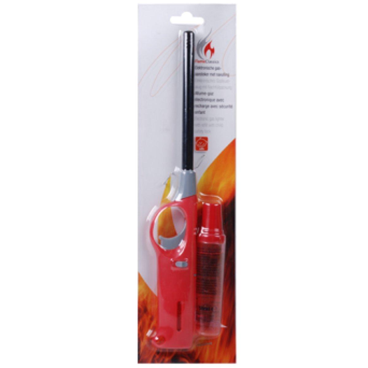 Flame Classics Gasaansteker met navulling - Hervulbare/Navulbare Aansteker - Kinderbescherming - Vlamaanpassing - Branstofindicator - Rood kopen