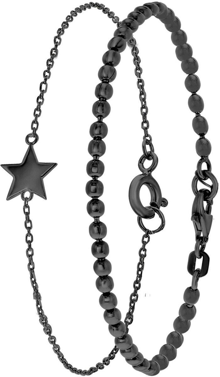 Lucardi - Zilveren set blackplated bolletjes & ster - maat 18 kopen