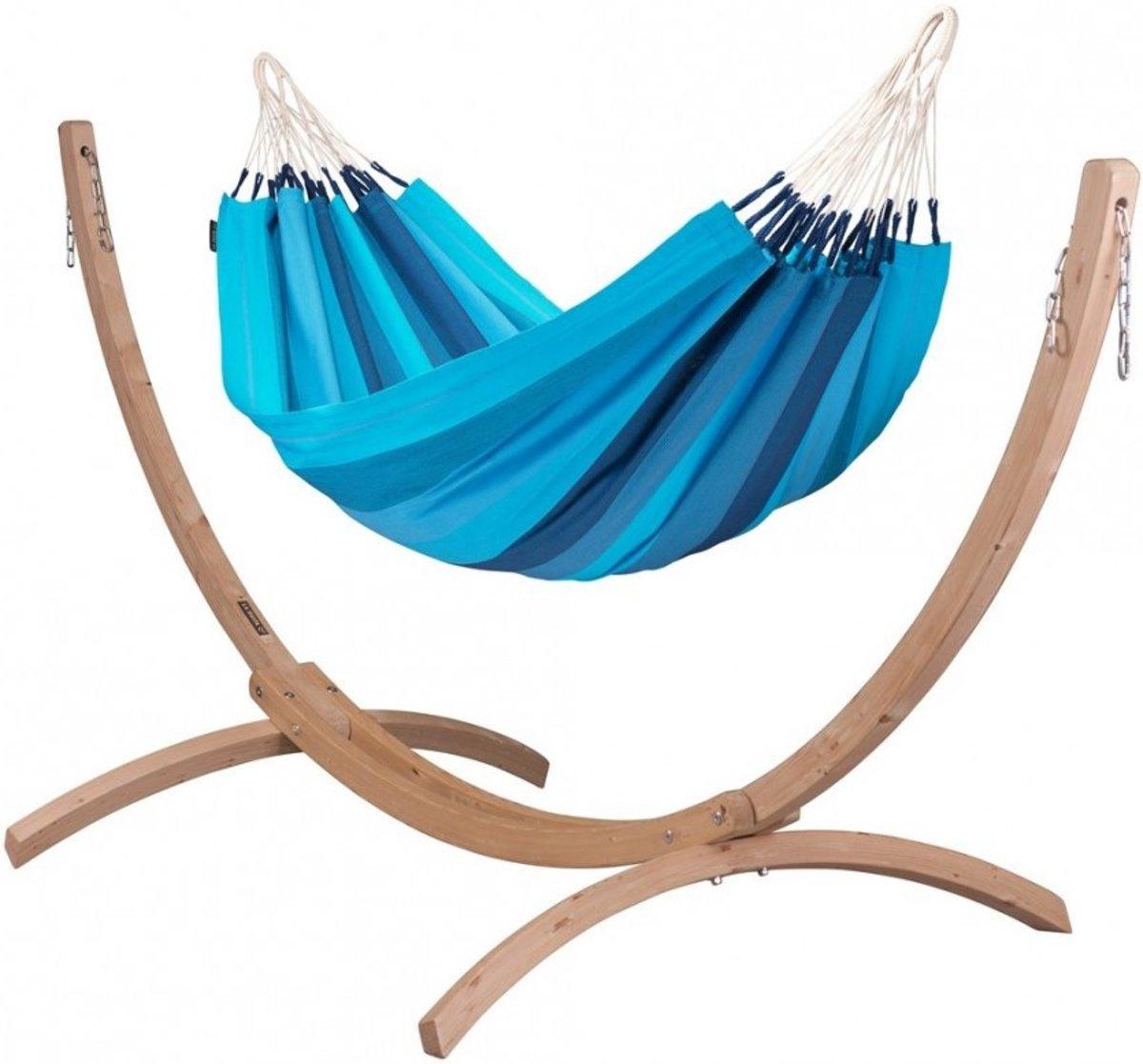 Hangmatset: 1-persoons hangmat  ORQUIDEA lagoon +Standaard voor 1-persoons hangmat  CANOA