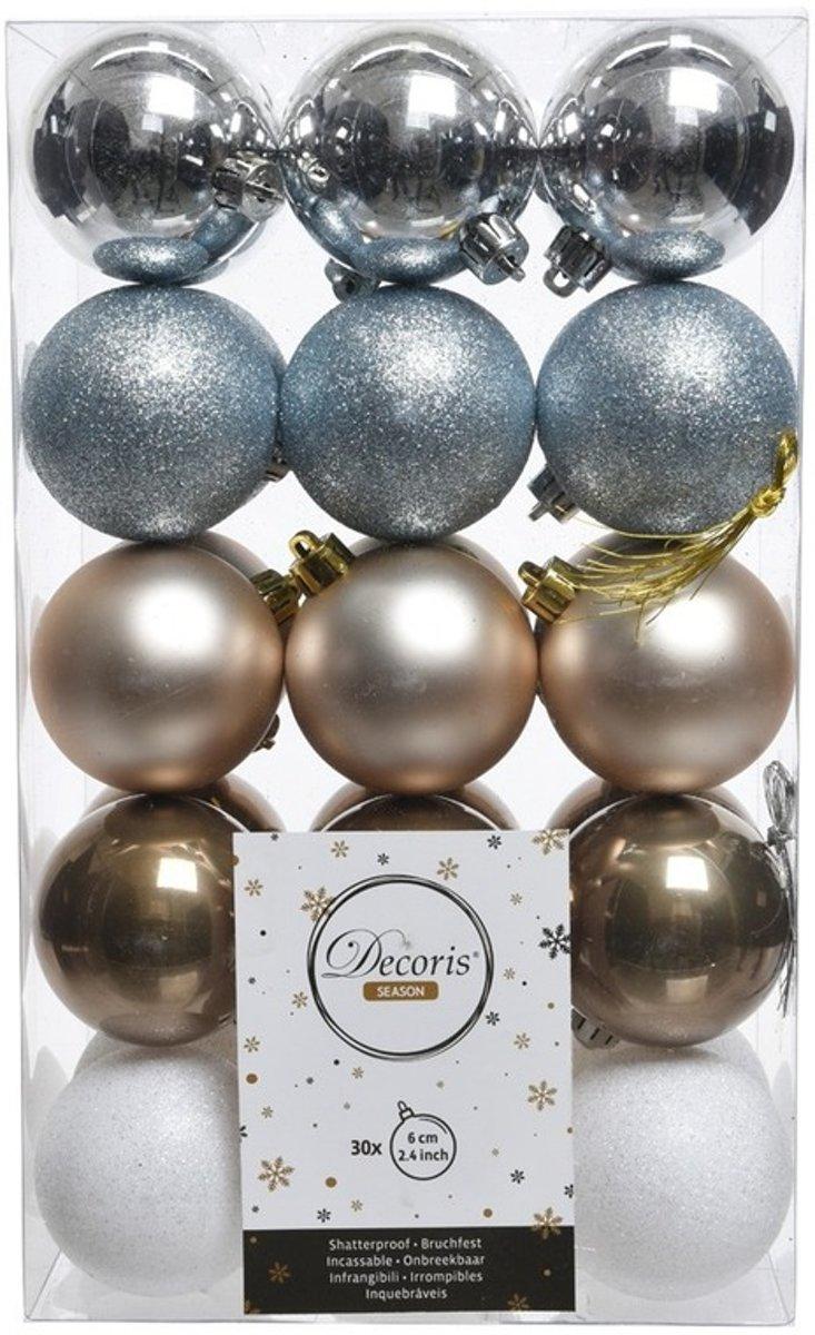 30x Zilver/bruin/witte kerstversiering kerstballenset kunststof 6 cm - kerstbal kopen