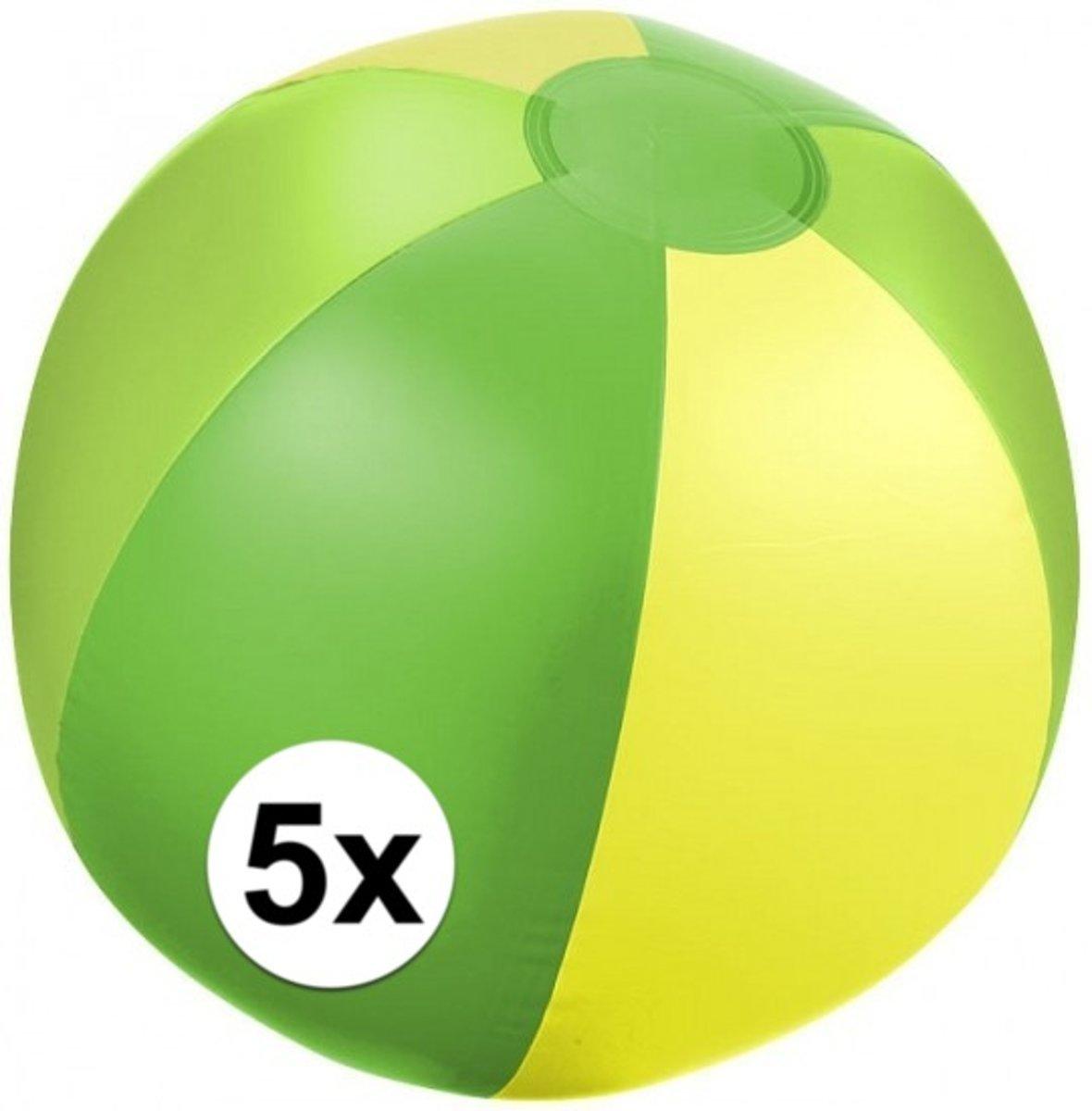 5x Opblaasbare strandbal groen