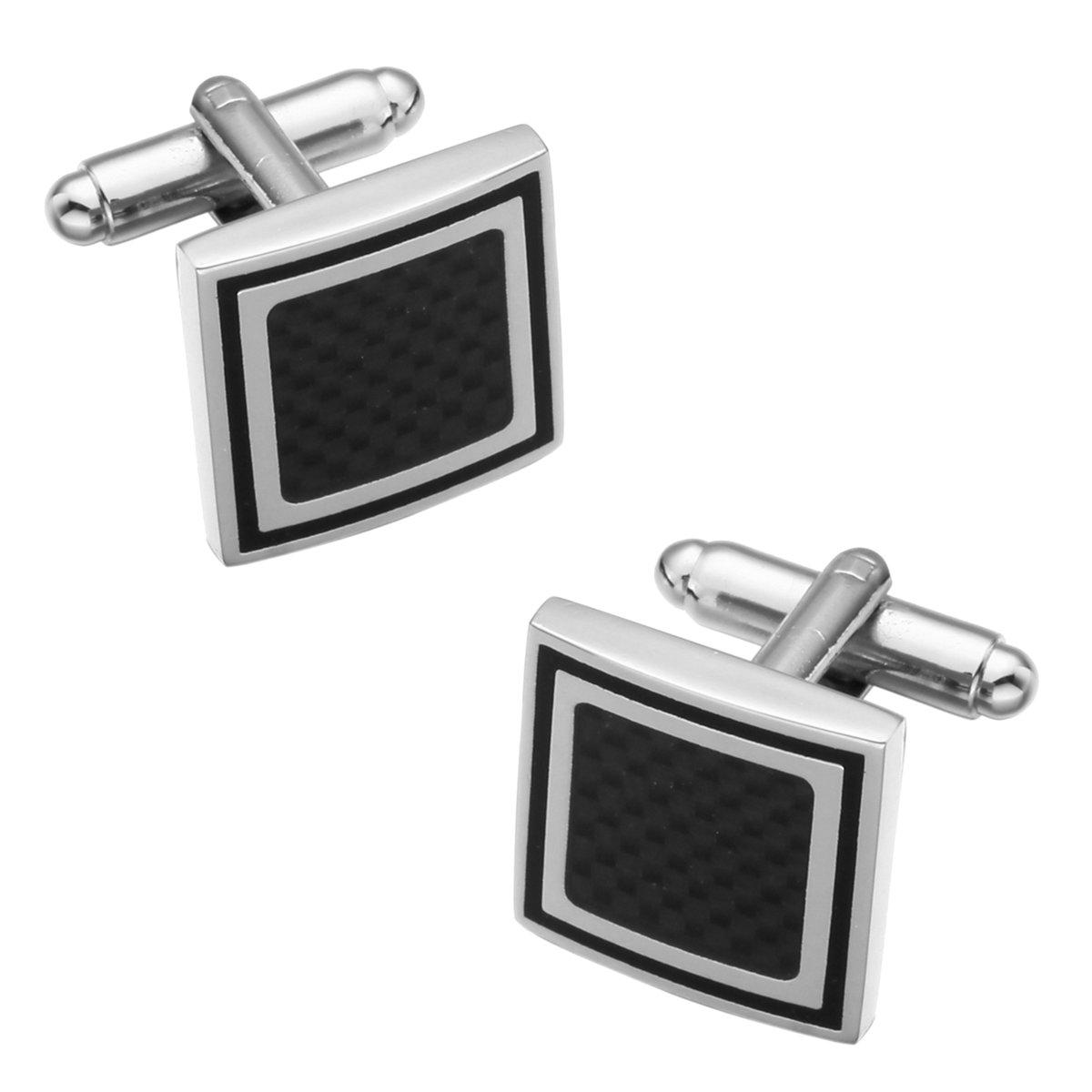 Fako Bijoux® - Manchetknopen - Carbon - Vierkant - Zwart - 17x17mm - Zilverkleurig kopen
