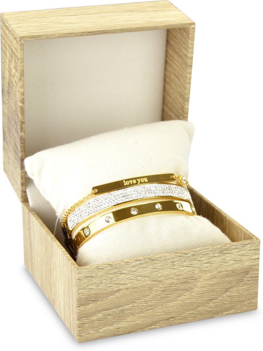CO88 Collection Gift Set 8CO SET016 Sieraden Geschenkset - Armbanden Set 3 Stuks - Staal - Goudkleurig kopen