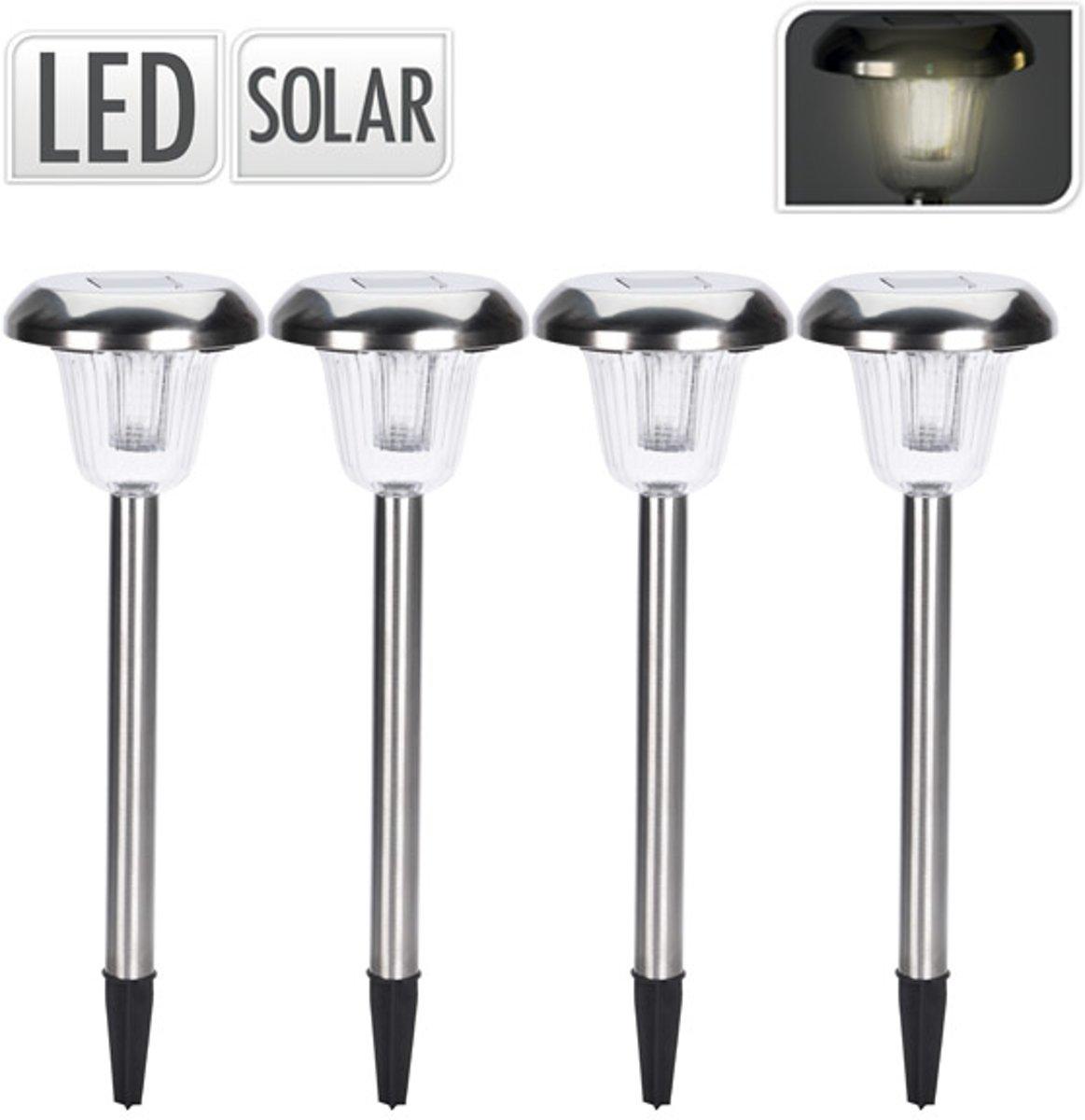 Progarden Solar Metalen tuinlampen set 4 delig – 4x11cm | Tuinlampen van Roestvrijstaal op Zonne Energie | Lichten buiten met zonnepaneel | Tuinlamp met Ingebouwde Dag en Nachtsensor kopen