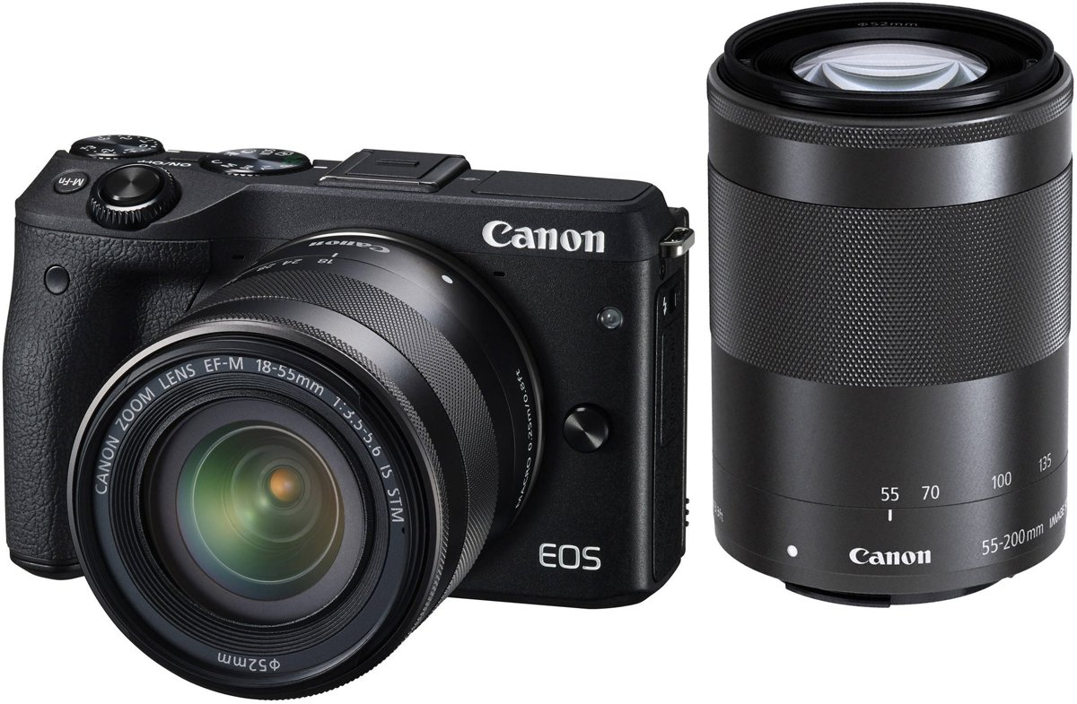CANON EOS M6 Zwart + 15-45mm + 55-200mm kopen