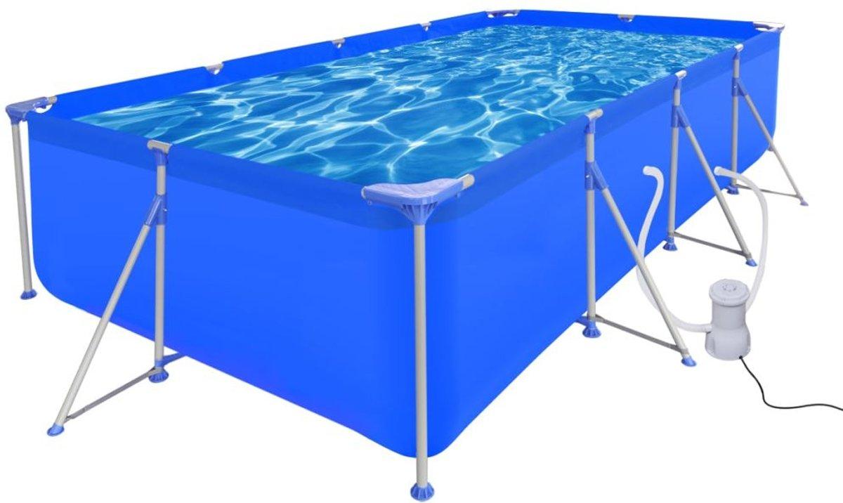 vidaXL Opbouw zwembad met stalen frame en filterpomp 394 x 207 x 80 cm