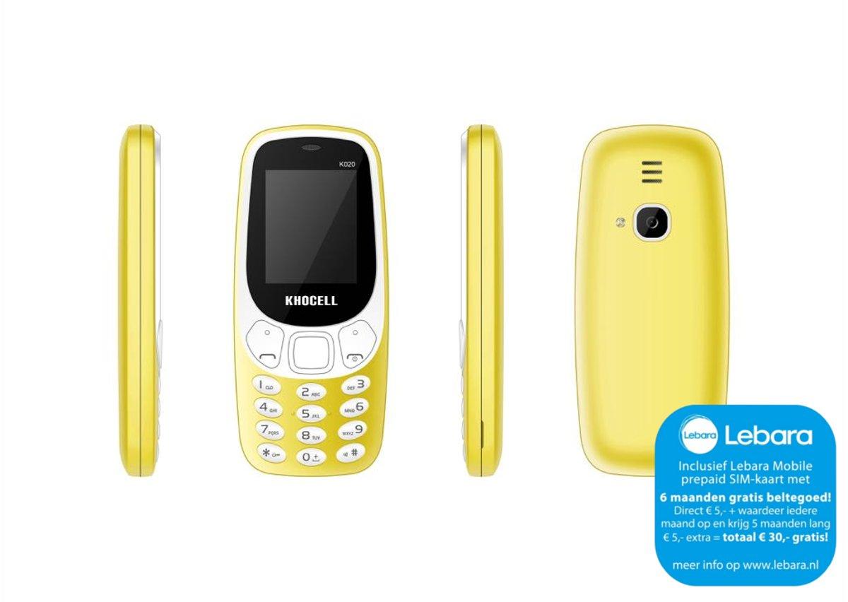 KhoCell K020 Geel Inclusief Lebara simkaart met  €30,- beltegoed* + gratis 3-1 data kabel t.w.v. 10.- EURO kopen