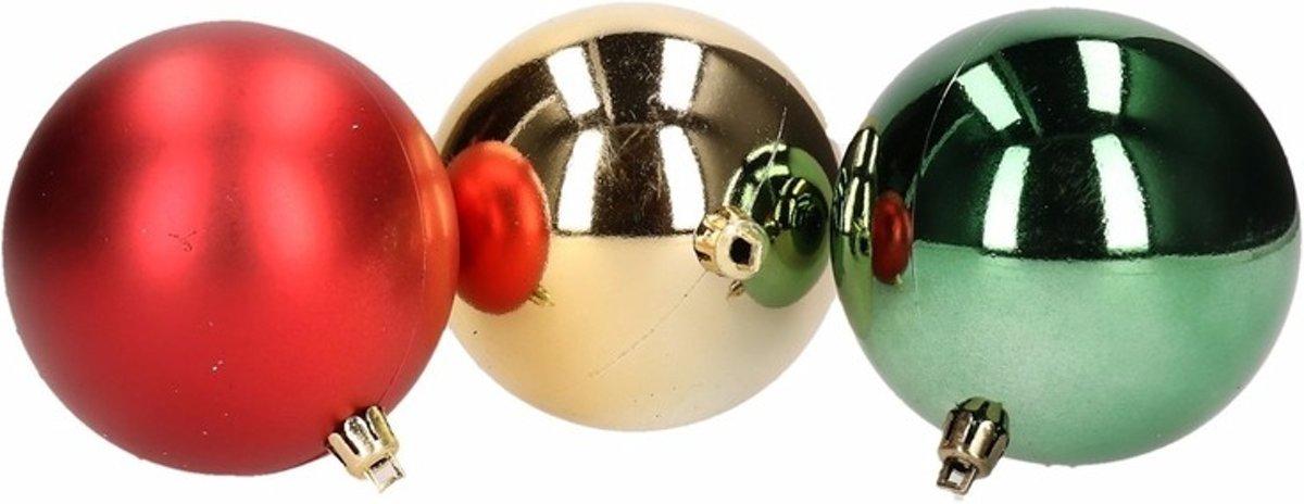 10x Kerstdecoratie kerstballen mix rood/groen 8cm kopen