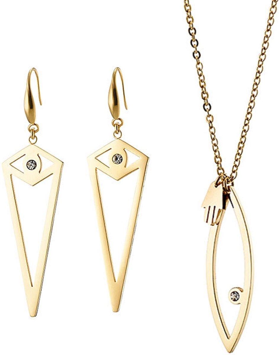 exotische oorbellen en lange ketting sieraden setje ter geschenk kopen