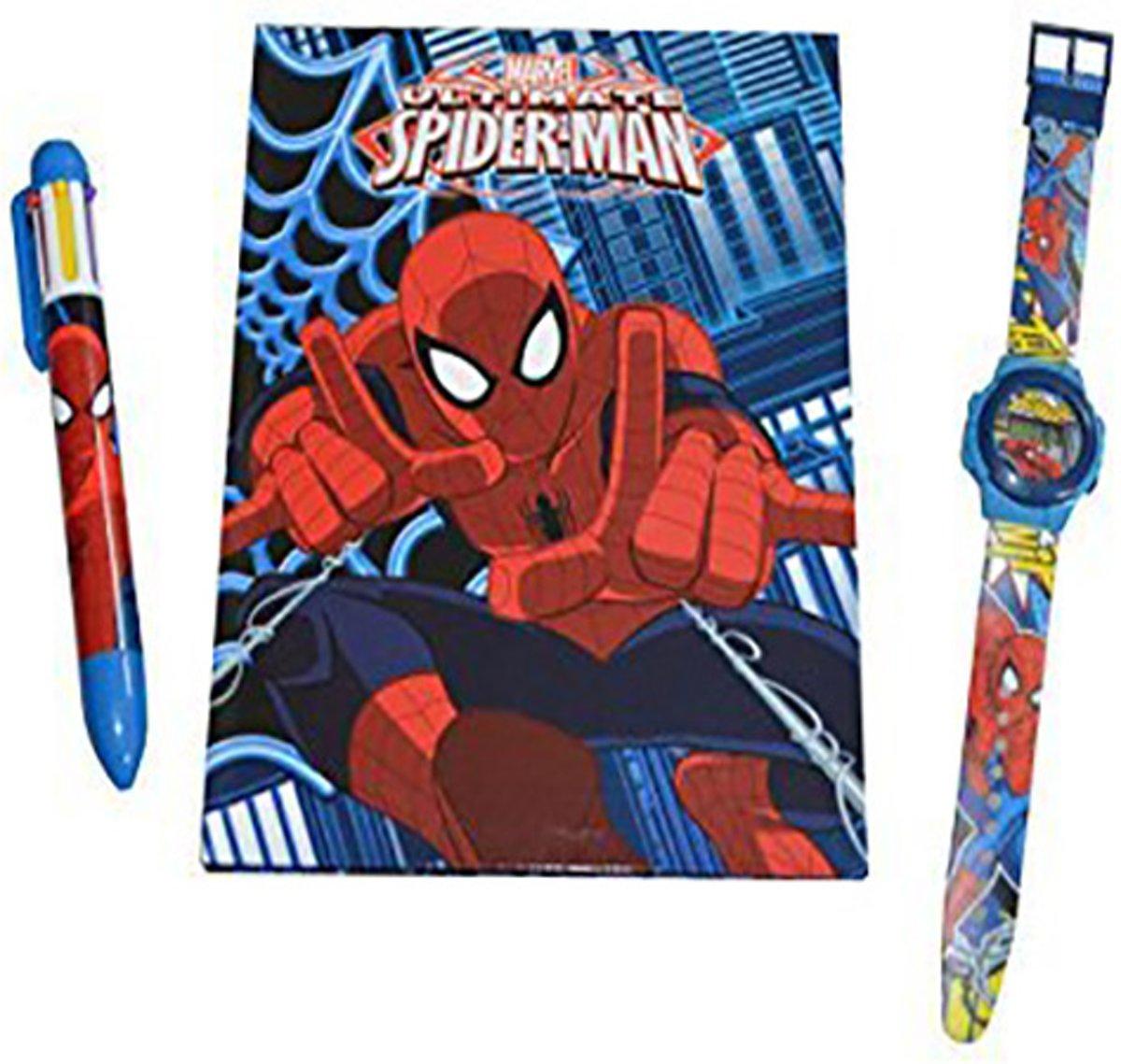 Spiderman giftset notebook, horloge en pen kopen