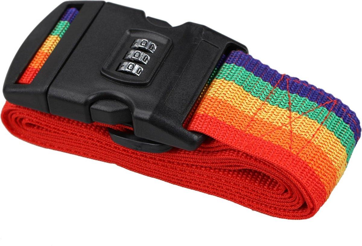 - 2 x - Kofferriem kofferband - met Cijferslot - 180 cm - Regenboog kopen