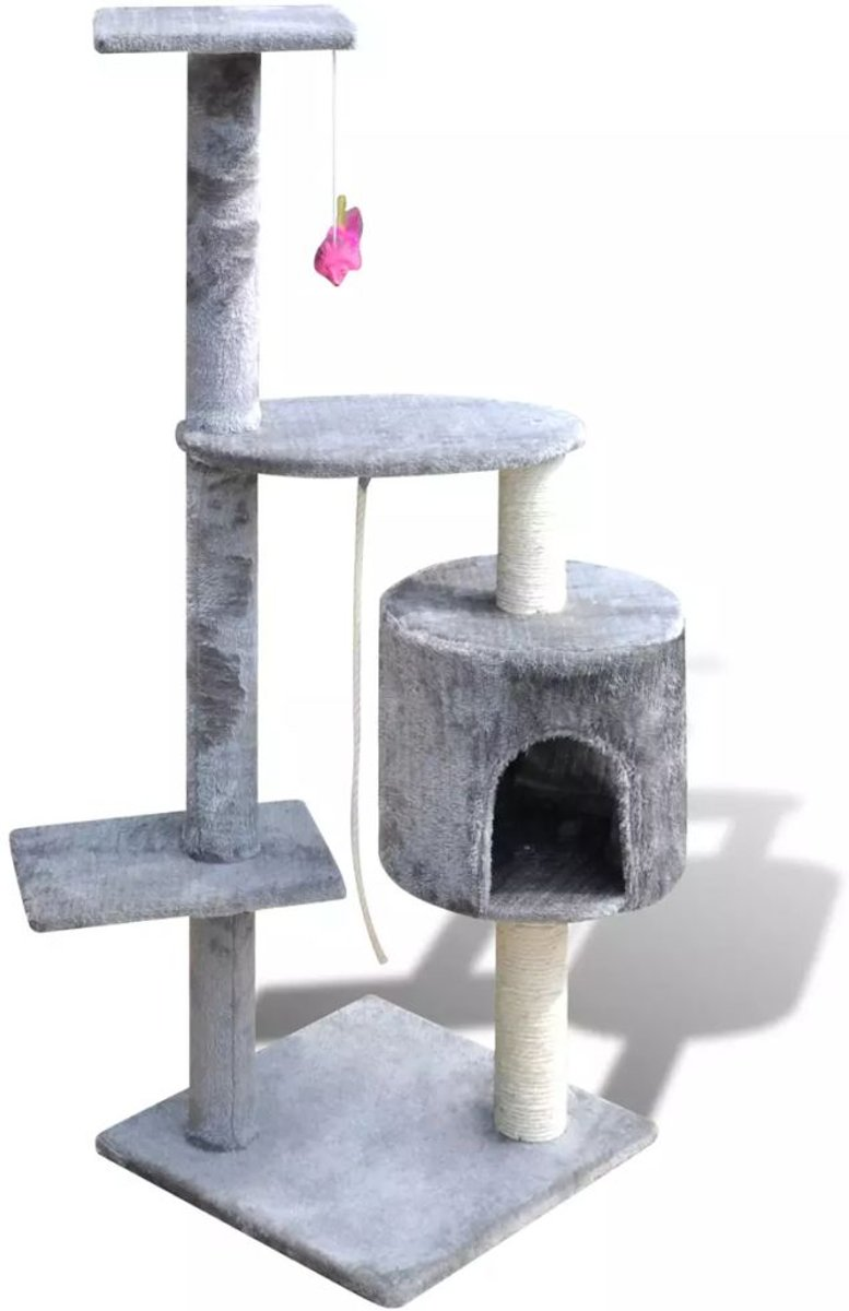 Katten Krabpaal - Tommie 114 cm 1 huisje (grijs)