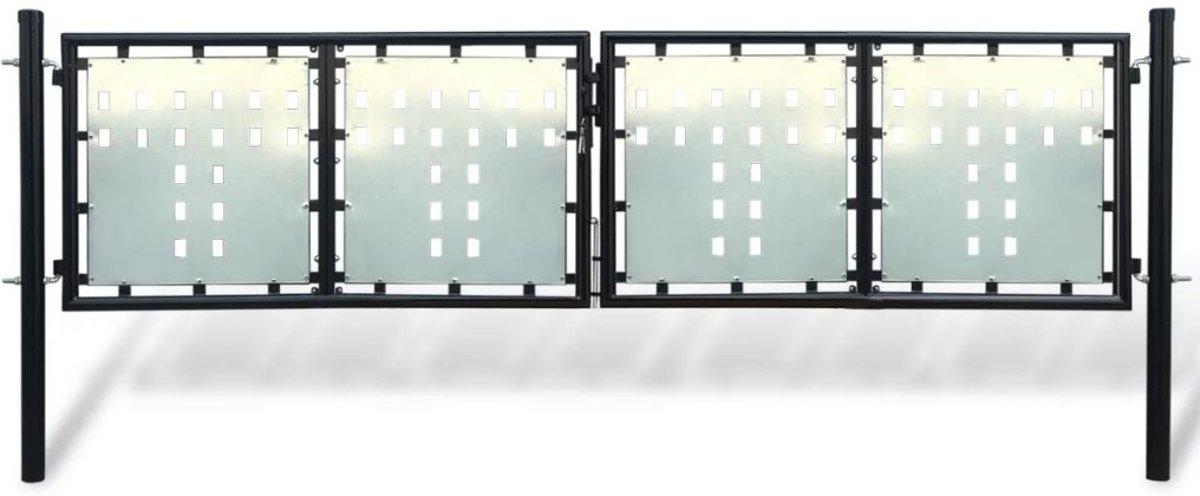 vidaXL Tuinpoort dubbele deur zwart 300 x 150 cm kopen