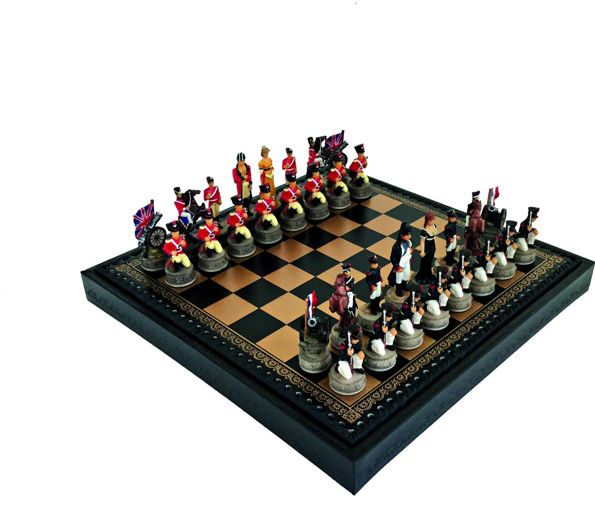 Luxe schaakset - Handbeschilderde Napoleon Slag van Waterloo schaakstukken + zwart / goud schaakbord met opbergbox (+ backgammon) - 35 x 35 cm