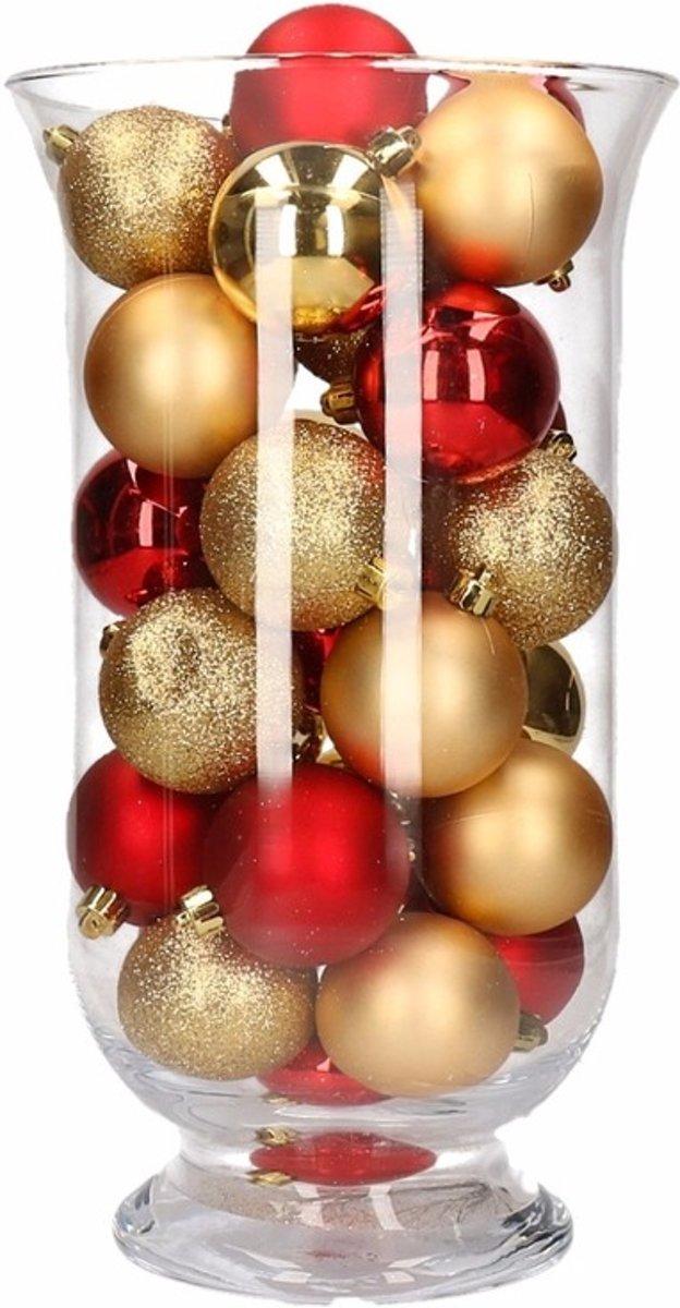 Woondecoratie goud/rode kerstballen in vaas kopen