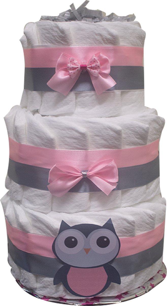 Pampertaart / luiertaart meisjes 3-laags maat 2 (4-8kg) Kraamcadeau, Babyshower, Geboortecadeau