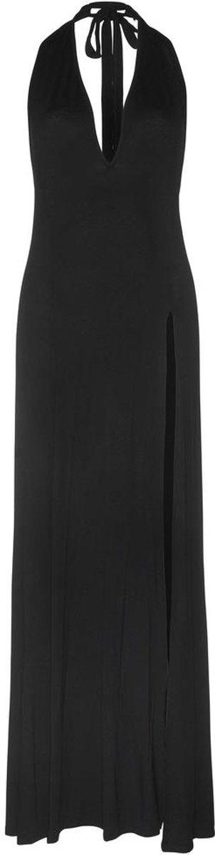 Genoeg bol.com | Zara lange maxi jurk met diepe V-hals en split zwart - M #XA25