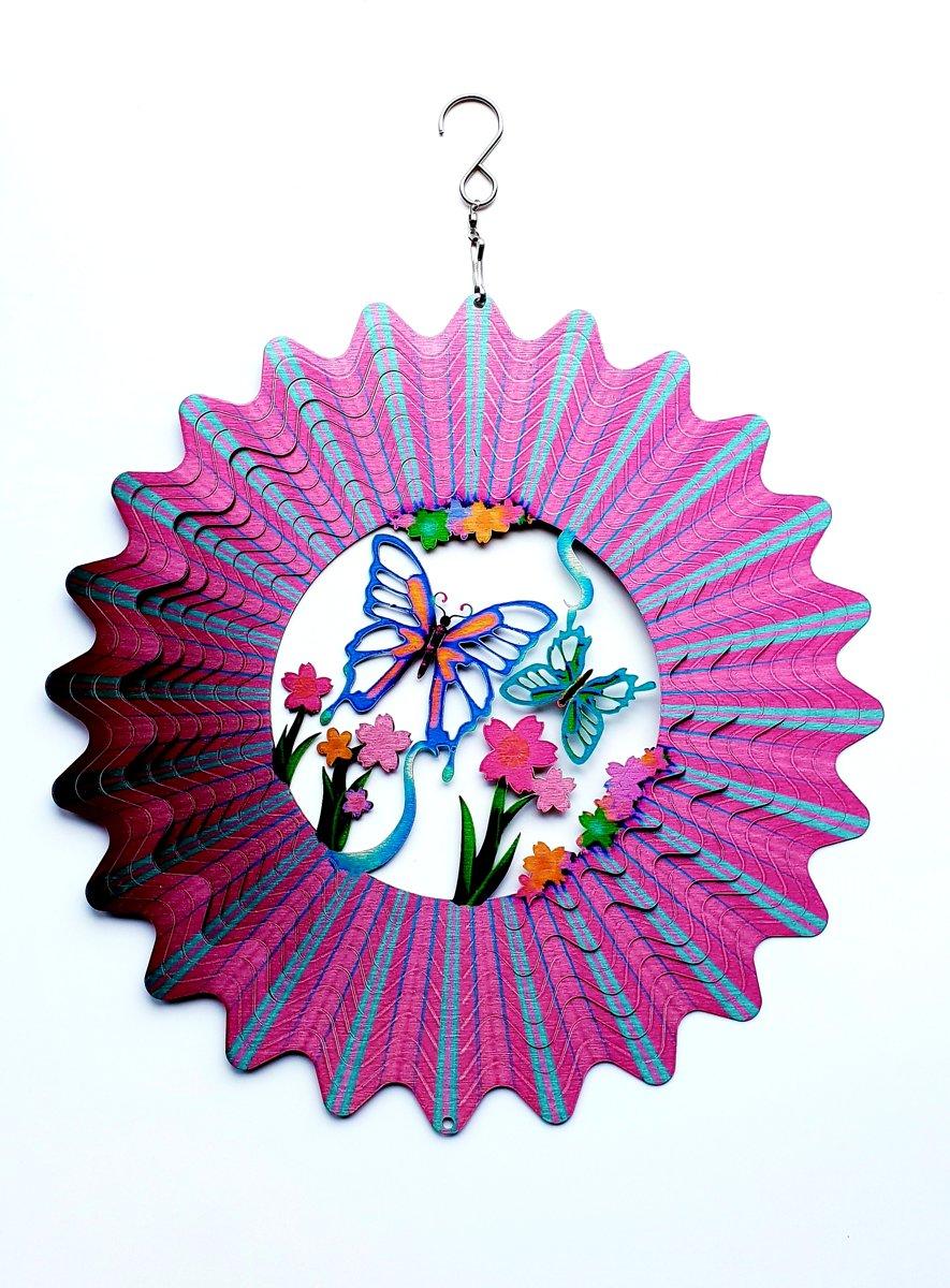 Windspinner Vlinder Ø30cm windvanger, windmolen  3D BUTTERFLY MULTI : PINK kopen