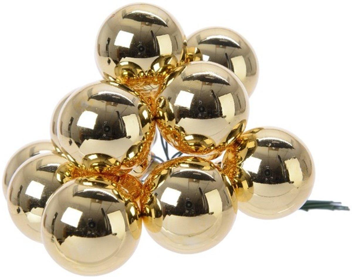 Gouden kerstballetjes op steker voor kerststuk 2 cm kopen