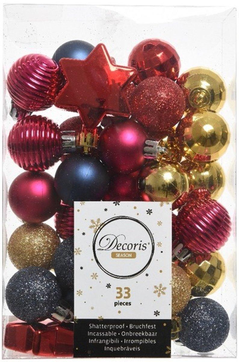 Rood/roze/blauwe kerstversiering kerstballenset 33 stuks kopen
