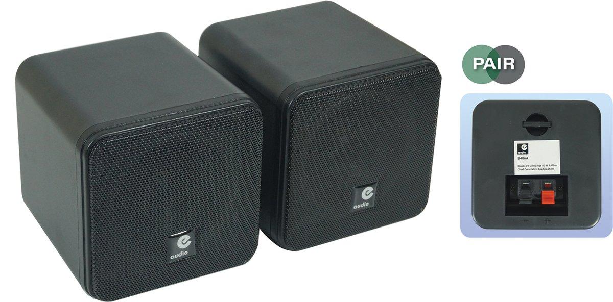 Zwarte 4 inch full range mini opbouw luidsprekerset 80 watt kopen