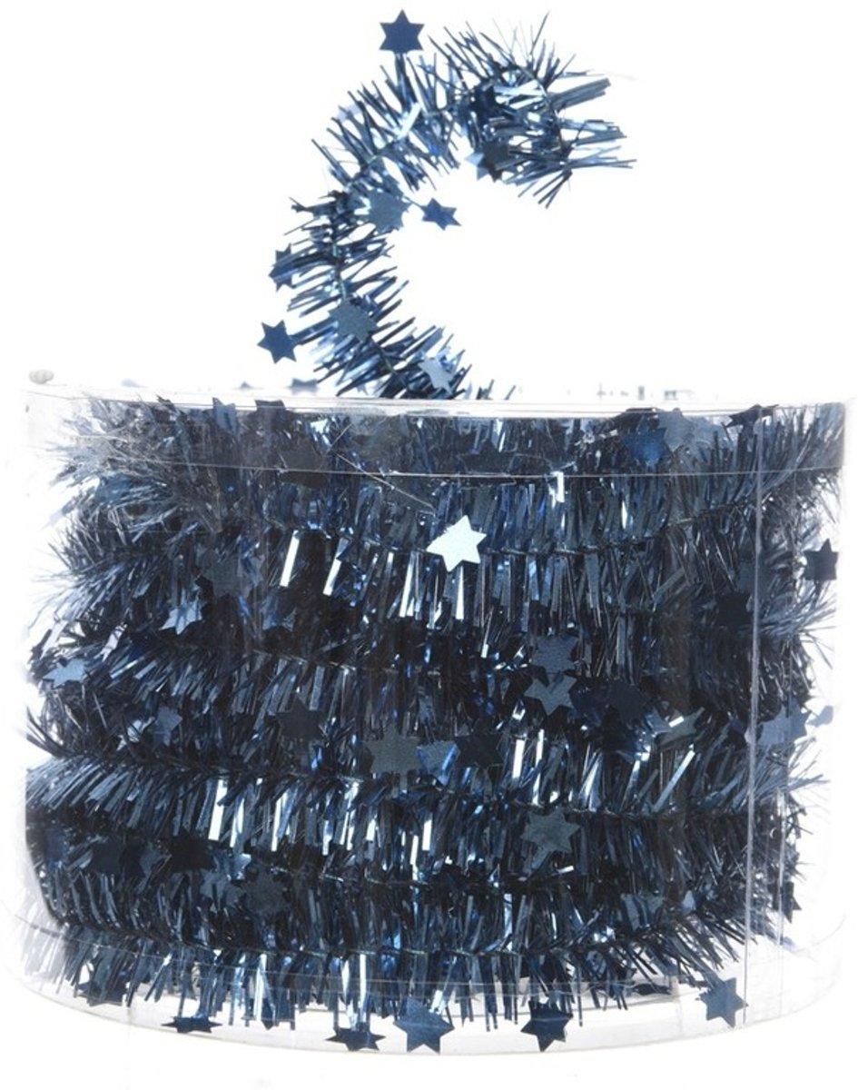 Blauwe kerstversiering folie slinger met ster 700 cm kopen