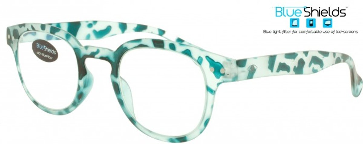 Icon Eyewear PFE312 +1.50 Blendin BlueShields Leesbril - Blauw licht filter lens - Transparant met turquoise print kopen