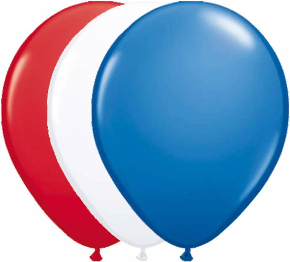 Ballonnen Rood/Wit/Blauw - 25 stuks
