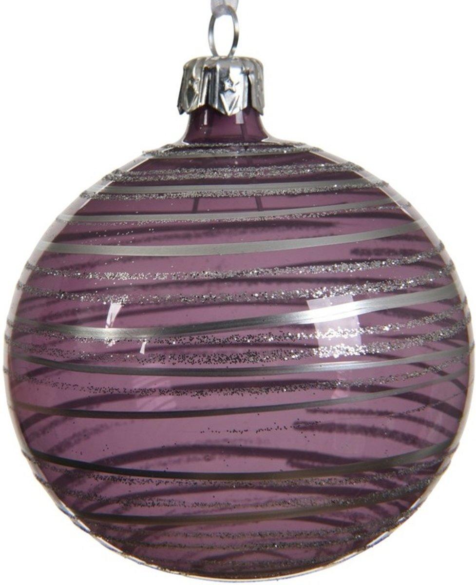 6x Lila paarse kerstversiering transparante kerstballen 8 cm glas - kerstbal kopen