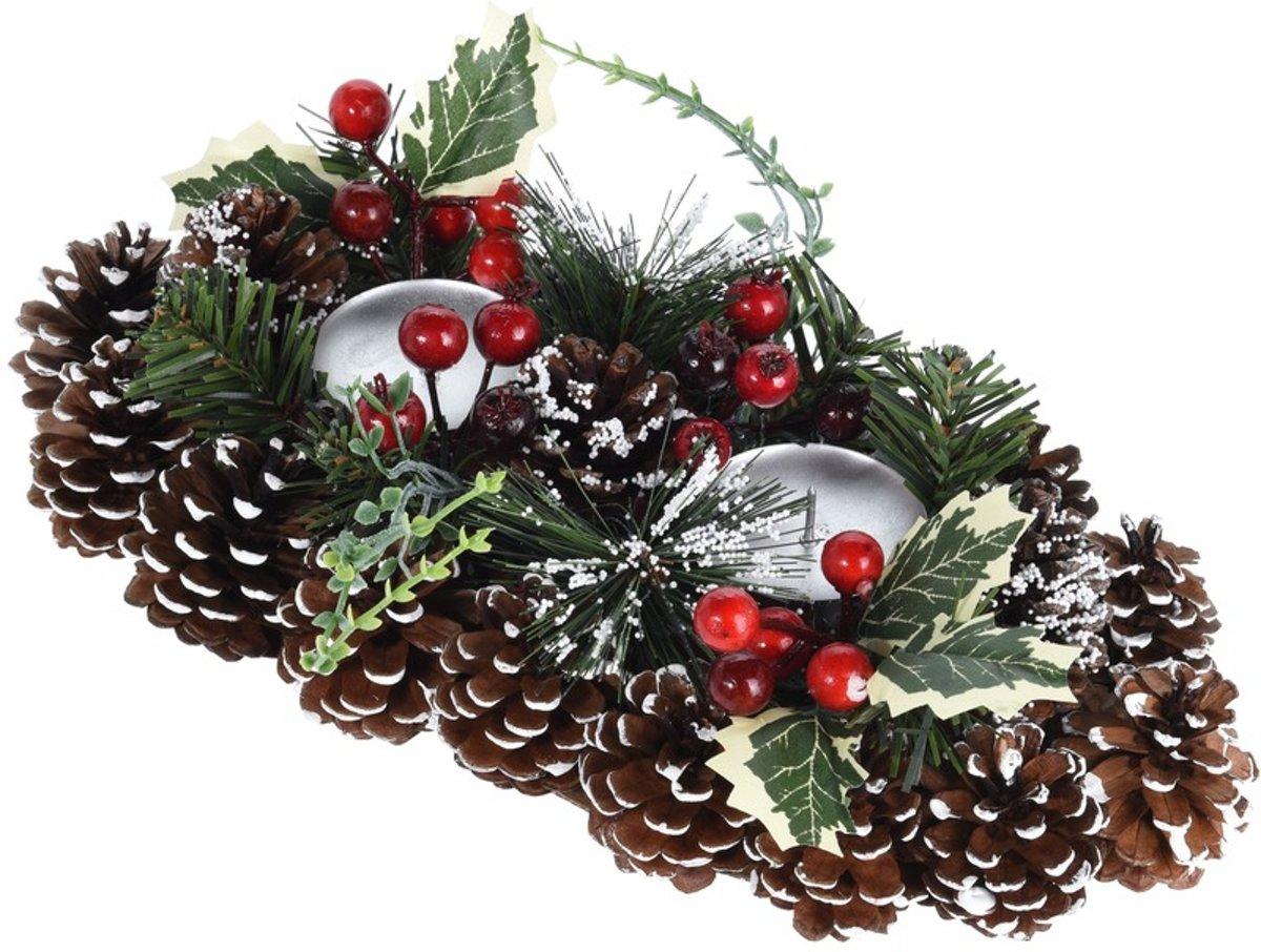 Kerststukje met waxinelichthouders 34 cm kopen