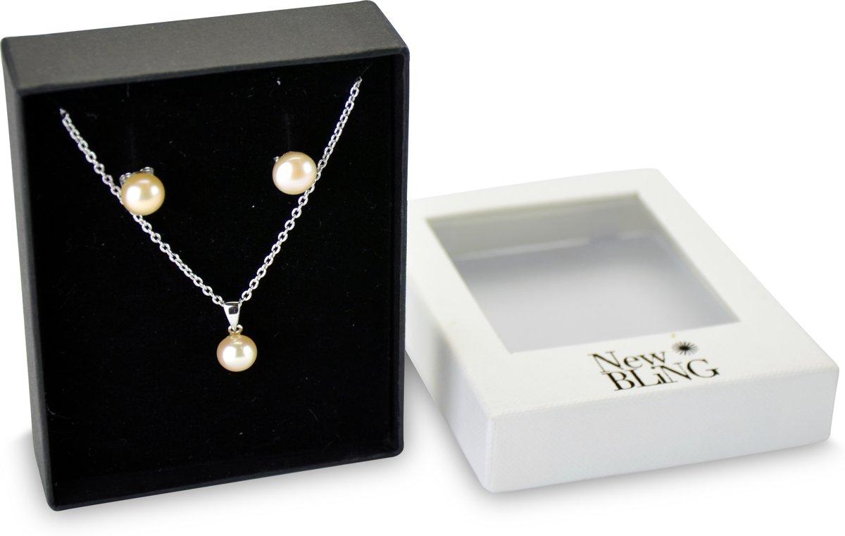 New Bling Gift Set 9NB SET018 Sieraden Geschenkset - Zilveren Oorbellen 7 mm Collier 40+5 cm - Zoetwaterparels - Zilverkleurig / Roze kopen