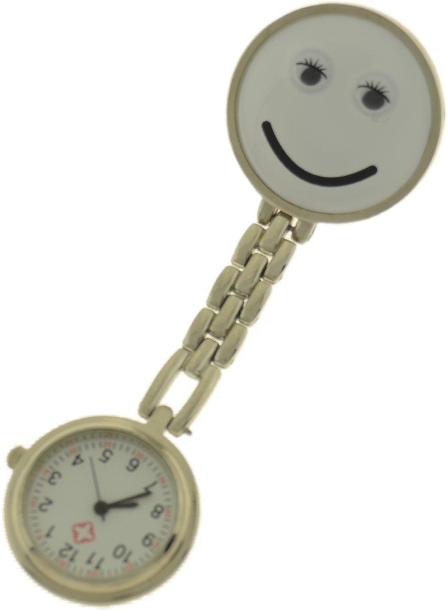 Treasure Trove® Verpleegster Horloge Happy Wit - Zusterhorloge - Dames - Heren - 25mm kopen