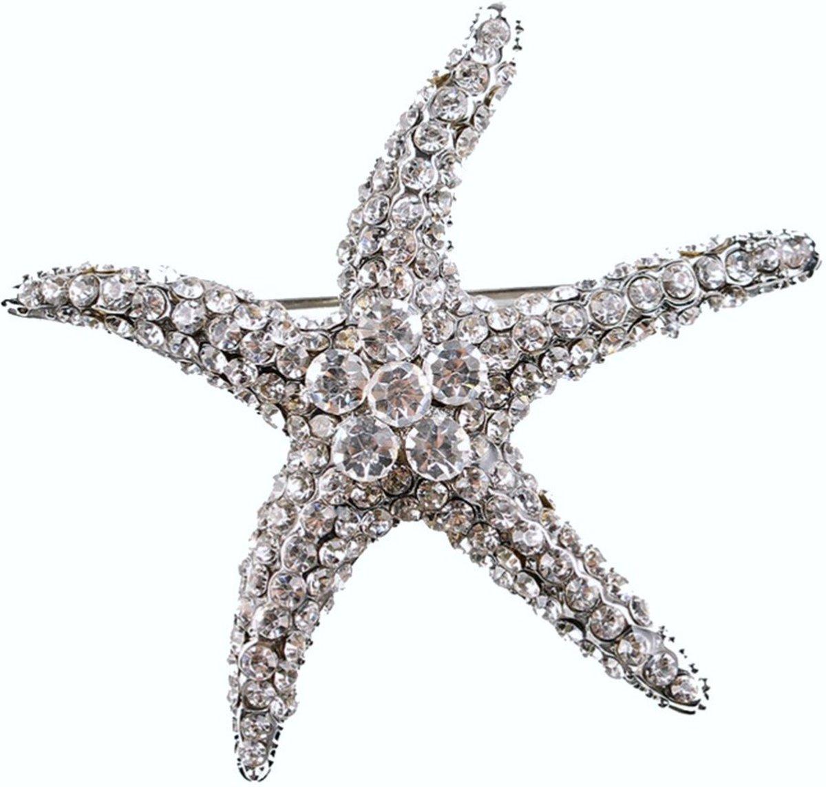 Fako Bijoux® - Broche - Zeester - Kristal - 56mm - Wit kopen