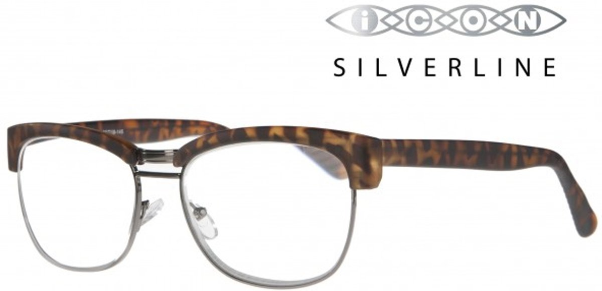 Icon Eyewear TCD723 Sean Silverline Leesbril +3.00 - Tortoise montuur, metalen onderzijde kopen