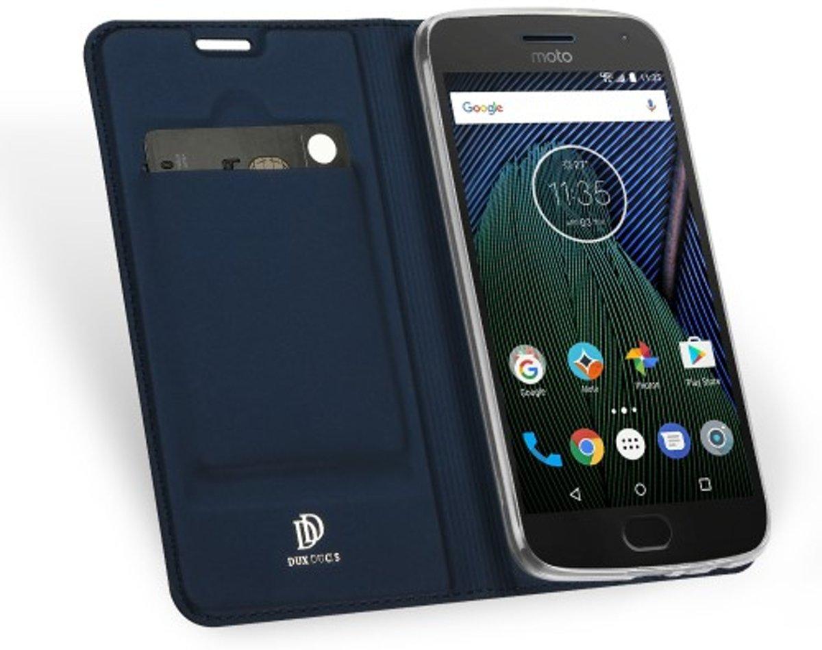 Tpu Luxe Bleu Flip Cas Pour Motorola Moto G5 E0Apk