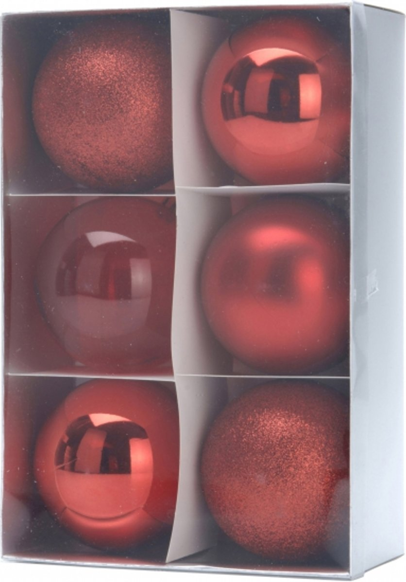 12x Kerstboomdecoratie - rode kerstballen 8 cm kopen