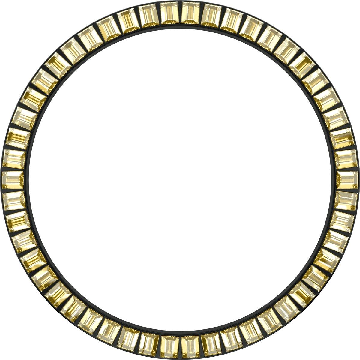 Marc Coblen - Zwarte verwisselbare horlogering - 45mm - Vierkante stenen - Geel kopen