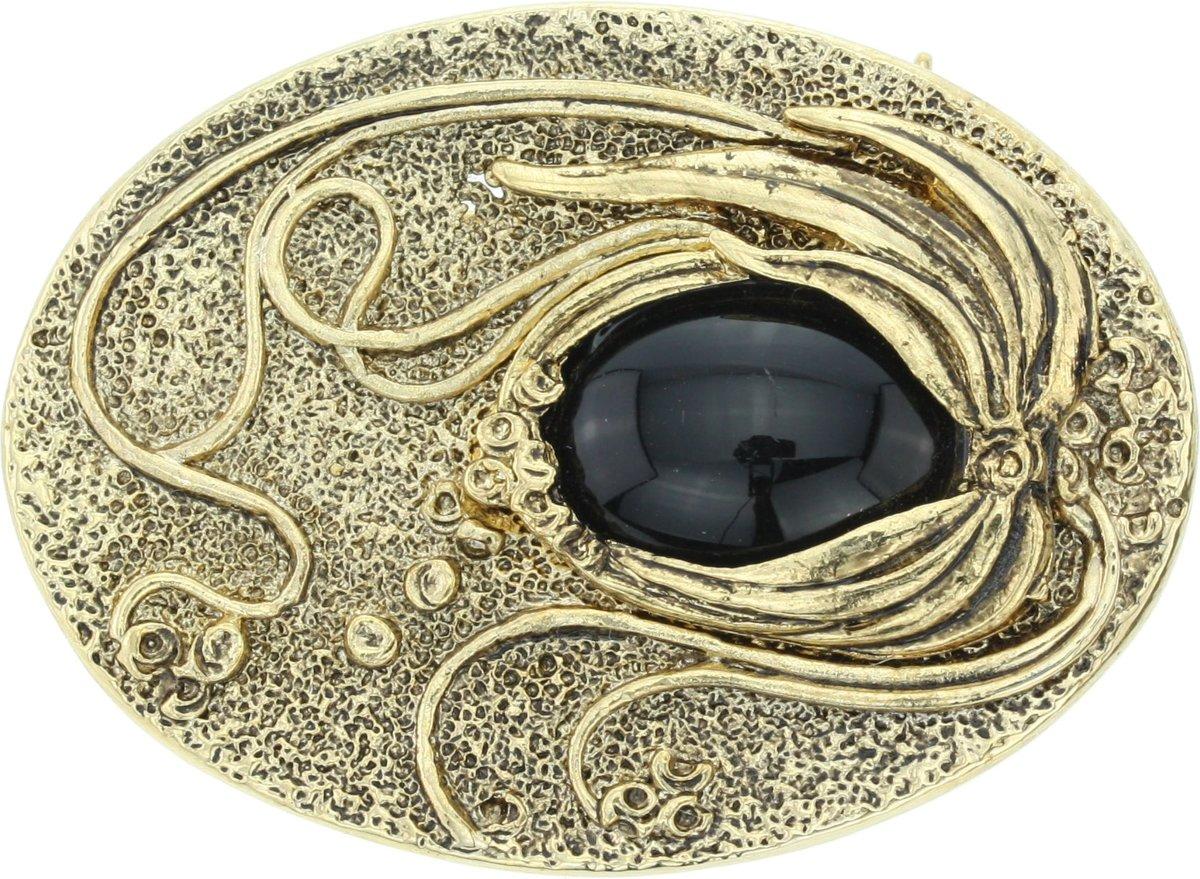 Ovale broche met zwarte steen kopen