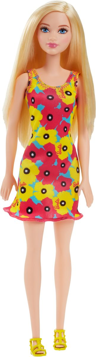 Barbie basis pop gele bloemenjurk