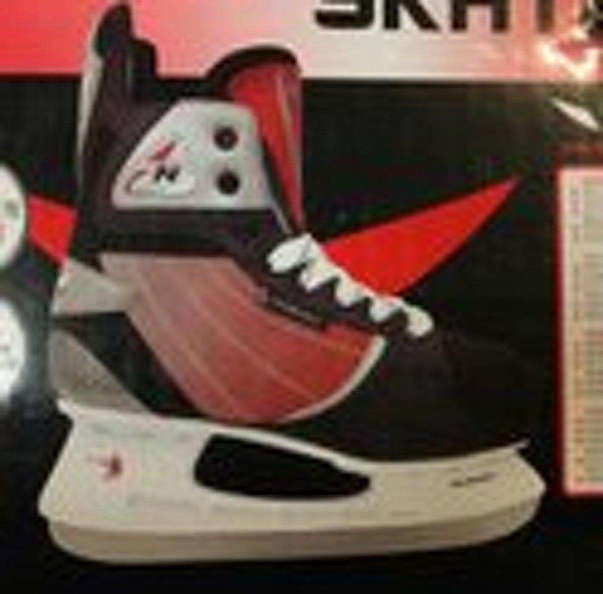 Nijdam 0107 Hockeyschaats - Schaatsen - Zwart/Rood - Maat 39