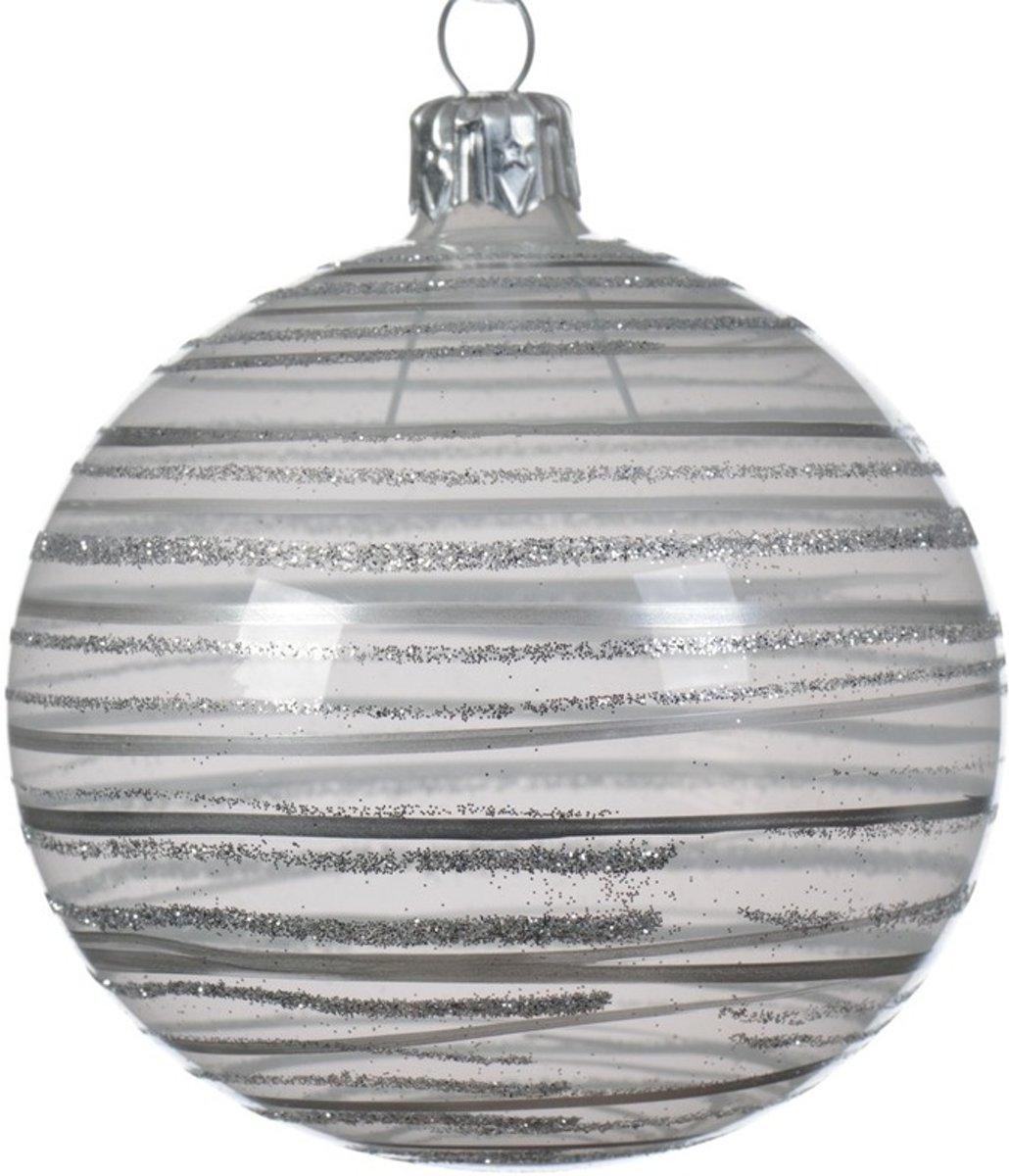 6x Champagne kerstversiering transparante kerstballen glas 8 cm kopen